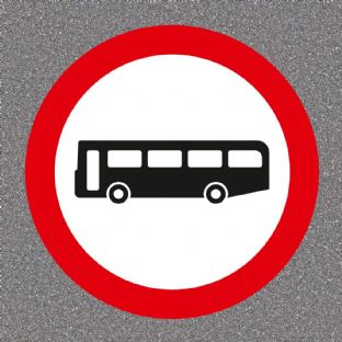 No Buses Road Sign